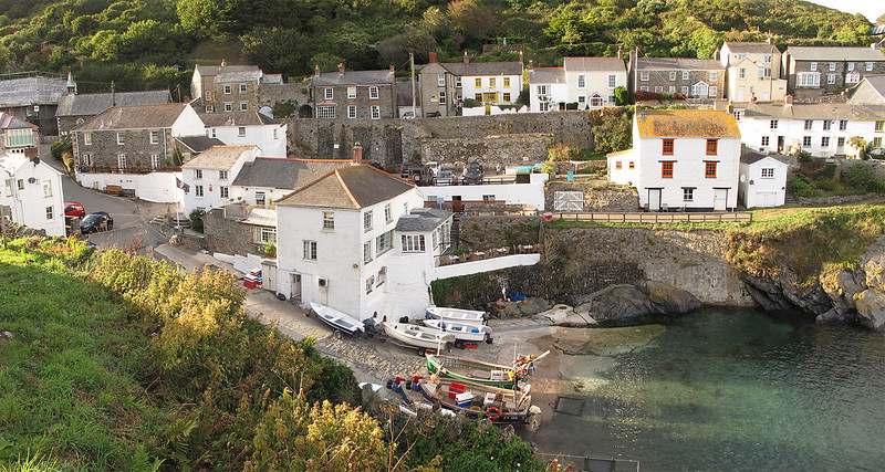 Tonight's stop hoves into view, Portloe Harbour, shown here with The Lugger Inn.