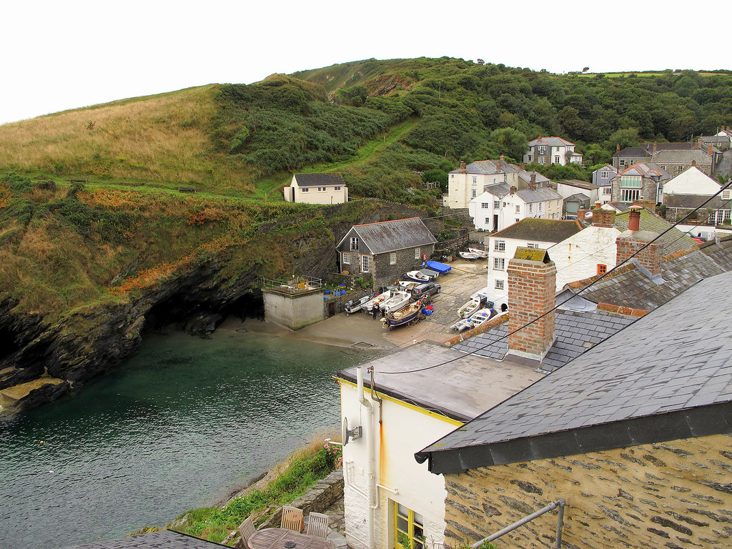 The path leaves Portloe nestling in its valley.