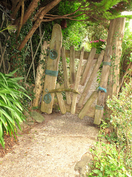 A splendid driftwood garden gate at East Portholland.