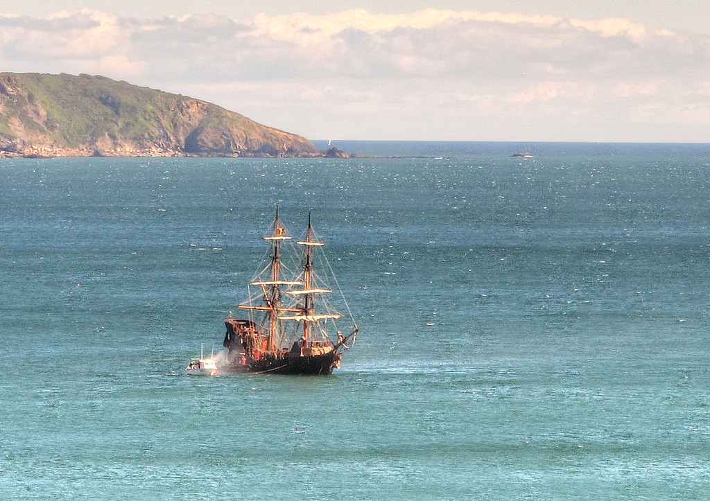 Square-rigger off Charlestown Harbour.