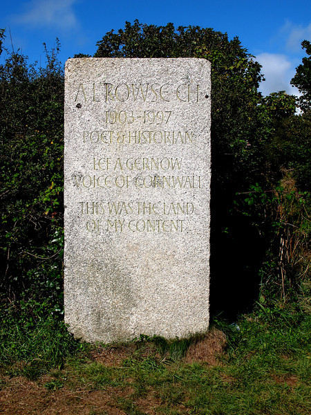 Memorial to A L Rowse near Trenarren.
