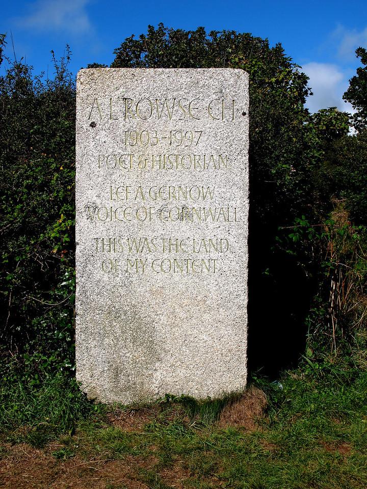 Memorial to A L Rowse near Trenarren.
