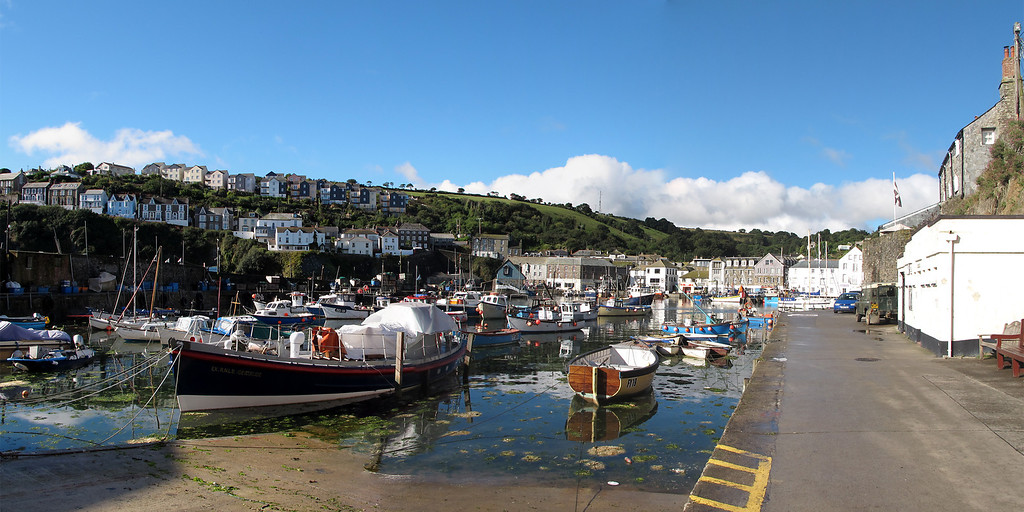 Panorama of the harbour at Mevagissey.