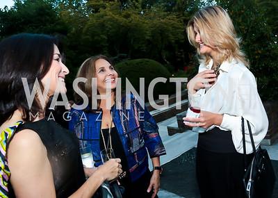 Tracy Bernstein, Samia Farouki, Lala Abdurahimova. Photo by Tony Powell. Sasha Bruce Youthwork's Dinner. British Amb.'s Residence. September 23, 2014