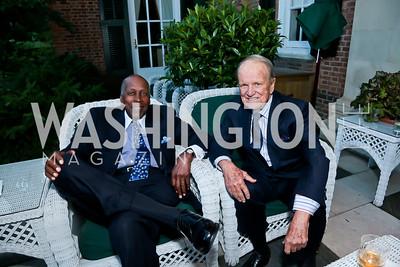 Vernon Jordon, George Stevens Jr. Photo by Tony Powell. Sasha Bruce Youthwork's Dinner. British Amb.'s Residence. September 23, 2014