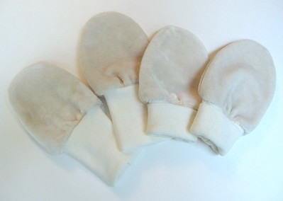 "TWO PAIR lil'shrooms Newborn ""no-scratch"" Bamboo Velour Mitts"