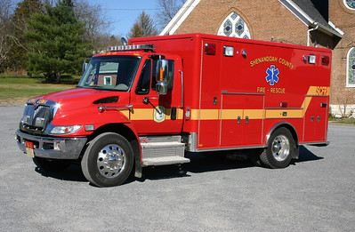Shenandoah County Medic 9-1, assigned to the Toms Brook station.  It is a 2012 International 4300 built by Horton.  Photographed in November of 2012 across the street from Station 9 in the church parking lot.