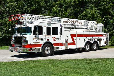 Photographed just prior to being placed into service is Woodstock, Virginia (Shenandoah County) Truck 12, a 2017 Spartan Gladiator/Smeal 105' with sn 715070.  It replaced a 1991 Pierce Arrow/2000 Pierce 105' that was ex- Appleton, WI Truck 343 (job number 6474-02).  The Pierce was sold overseas.