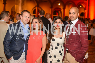 Daniel Karna, Sophie Blake, Sameena Khan, Sim Khan,  22nd Annual Sinatra Soiree, hosted by the Capital Club, at the National Building Museum, Thursday July 17th, 2014.  Photo by Ben Droz.