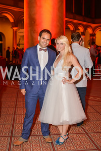 Aaron Alciner, Caroline Carr Gould, 22nd Annual Sinatra Soiree, hosted by the Capital Club, at the National Building Museum, Thursday July 17th, 2014.  Photo by Ben Droz.