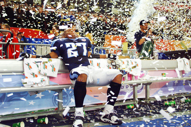 Showered by confetti, a stunned Tennessee Titans running back Eddie George was in disbelief after his team lost Super Bowl XXXIV to the St. Louis Rams in the final play of the game.