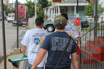 "Norristown Fire Department and International Brotherhood of Electrical Workers held a neighborhood ""Blitz"" to provide residents with smoke detectors, Saturday May 30, 2015. (Oscar Gamble -- The Times Herald)"