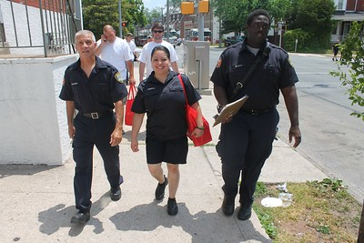 """Norristown Fire Department and International Brotherhood of Electrical Workers held a neighborhood """"Blitz"""" to provide residents with smoke detectors, Saturday May 30, 2015. (Oscar Gamble -- The Times Herald)"""