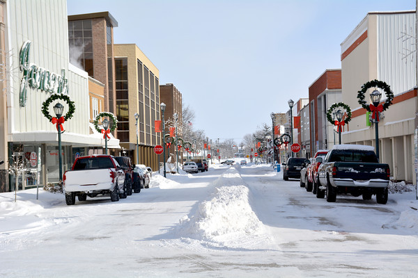 Snow gathered down the center of Jefferson St. as a storm Sunday dropped over a foot of snow in many areas of Effingham.