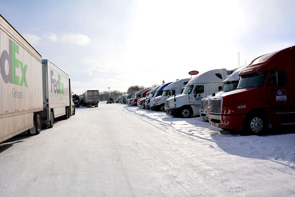 TA Travel Center filled with semi-trucks and trailers Monday after severe weather caused traffic problems on the interstate.
