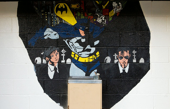 A Batman mural is pictured above a water fountain near the restrooms at the Georgetown Drive-In. Staff photo by Christopher Fryer