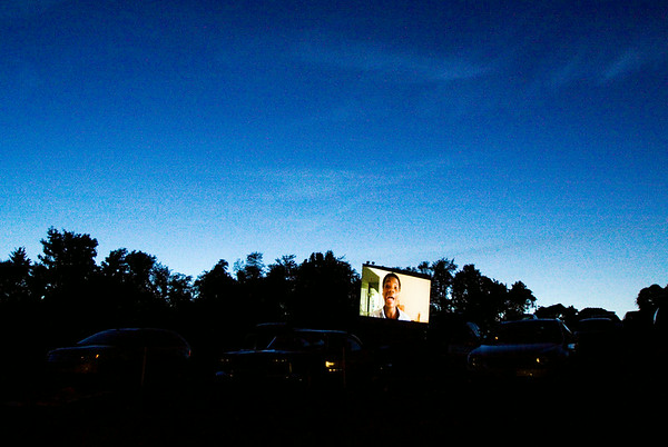 "The film ""Earth to Echo"" is projected on to screen two at the Georgetown Drive-In. Staff photo by Christopher Fryer"