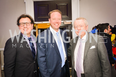 Erik Huey, Michael Gallagher, Tommy Quinn, Sony and the ESA celebrate the Playstation 4 Carnegie Library.  Photo by Ben Droz.