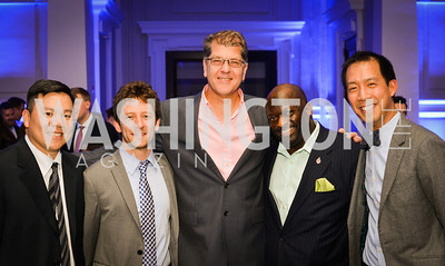 Kevin Chung, Eddie Haubrich, Steve Clemons, Jeff Ballou, Ben Chang, Sony and the ESA host a celebration for Playstation 4 at Carnegie Library.  April 2nd 2014.  Photo by Ben Droz .