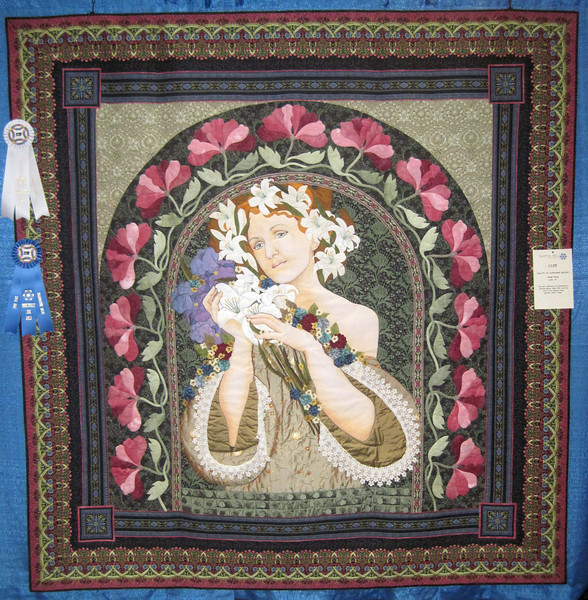 Artistic Merit<br /> First Place, Collaborative Quilts<br /> Salute to Alphonse Mucha<br /> Sandi Snow
