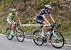 Brambilla has been taken out of the race by commissaires after fighting with Rovny - Poels and De Marchi start the last long ascent with a two-minute lead...