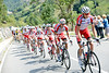 The Katusha team has settled down to chasing, but they are six-minutes down on the Alto de la Cobertoria...