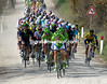 The Cannondale team chases on the third section of unsurfaced road...