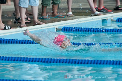 The winner of the girls 18 and under 50 meter backstroke from the Churchill Village South.