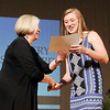 John P. Cleary | The Herald Bulletin <br /> State Rep. Terri Austin presents Hillery Shepherd, of Shenandoah, her award for being one of the girls Scholar Athletes during the THB Sports Awards Tuesday evening.
