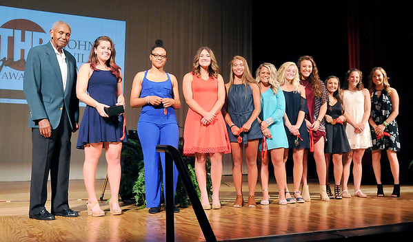 John P. Cleary | The Herald Bulletin <br /> Johnny Wilson with the girls Johnny Wilson Award finalists.