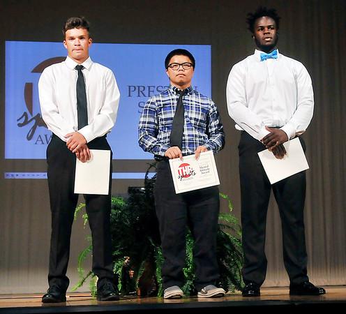 John P. Cleary | The Herald Bulletin <br /> THB Sports Awards boys Mental Attitude finalists are Jon Hatzell, Frankton, Braden Kauffman, Pendleton Hts., and Preston Scott of Lapel. Jon Hatzell was named the winner of the award.