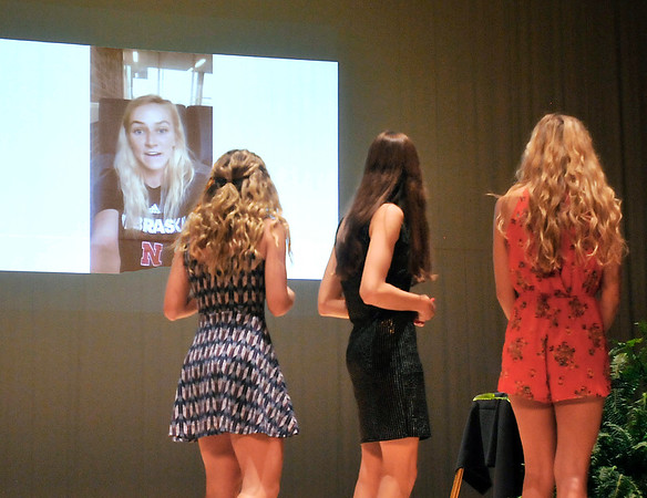 John P. Cleary | The Herald Bulletin <br /> Alexandria volleyball player Megan Miller thanks those at the THB Sports Awards via video after being named Girls Athlete of the Year.