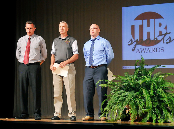 John P. Cleary   The Herald Bulletin <br /> THB Sports Awards girls Coach of the Year finalists are Stephen Hamaker, Frankton girls basketball, Jeff Harmon, Alexandria villeyball, and Dameon Wyatt, Shenandoah girls basketball. Hamaker was named the winner of the award.