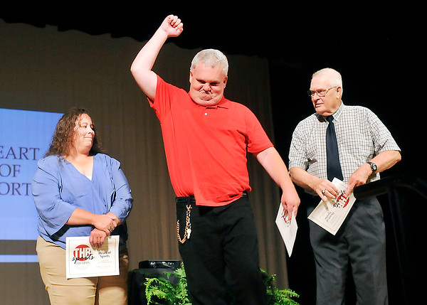 John P. Cleary | The Herald Bulletin <br /> Jimmy Pine, of Liberty Christian, reacts after being named the Heart of Sports winner during the THB Sports Awards Tuesday evening. The other finalists  were Emma Fox of Elwood, and John Rhoades of Pendleton Heights.
