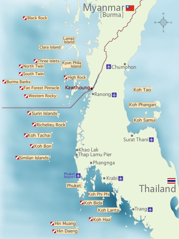 Thailand Dive Sites Map and Myanmar Dive Sites