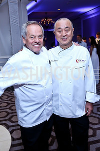 Celebrity Chefs Wolfgang Puck, Nobu Matsuhisa. Photo by Tony Powell. The 2014 Children's Ball. Ritz Carlton. April 11, 2014