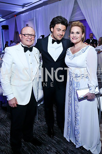 Franco Nuschese, Vittorio Grigolo, Princess Aisha bint Al Hussein. Photo by Tony Powell. The 2014 Children's Ball. Ritz Carlton. April 11, 2014