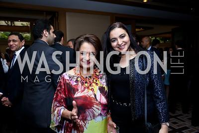 Mona Makramebeid, Dina Sweillam. Photo by Tony Powell. Meridian Global Leadership Awards. Four Seasons. June 10, 2014