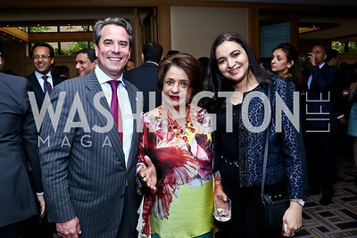 Stuart Holliday, Mona Makramebeid, Dina Sweillam. Photo by Tony Powell. Meridian Global Leadership Awards. Four Seasons. June 10, 2014