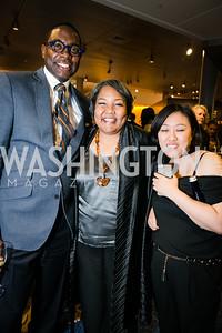 Andre Wells, Julieanna Richardson, Zhu Sun.  Photo by Alfredo Flores. The Boomer's List opening celebration. Newseum. October 1, 2014.