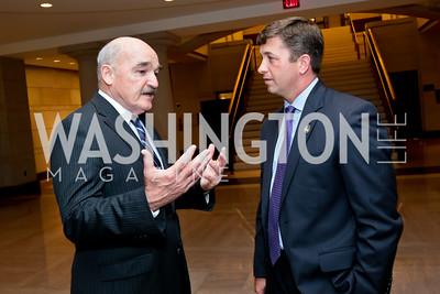 "Adm. Dennis McGinn, Jon Powers. Photo by Tony Powell. ""The Burden"" Screening and Reception. US Capitol Visitors Center. July 24, 2014"
