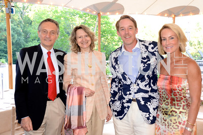 Ambassador Claudio Bisogniero, Laura Denise Bisogniero, Ian O'Neil, Samantha Corrigan, Annual Country Barbecue at the Villa Firenze benefitting the Children's Hearing and Speech Center.  Thursday, June 5th, 2014.  Photo by Ben Droz.