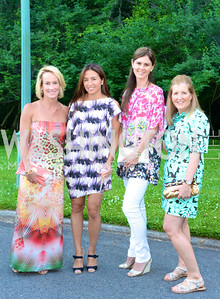 Samantha Korrigan, Gina Coburn, Mae Grennan, Kerry Fortune Carlsen, Annual Country Barbecue at the Villa Firenze benefitting the Children's Hearing and Speech Center.  Thursday, June 5th, 2014.  Photo by Ben Droz.