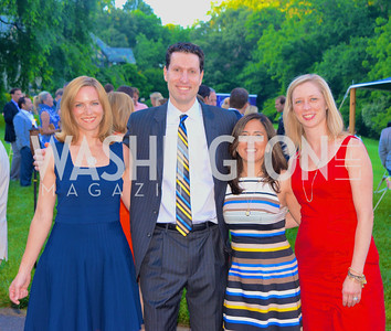 Kate Hawken, Bob Kaplan, Tara Swaminatha, Meg Flood, Annual Country Barbecue at the Villa Firenze benefitting the Children's Hearing and Speech Center.  Thursday, June 5th, 2014.  Photo by Ben Droz.