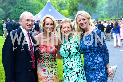 Roger Packer, Samantha Corrigan, Kerry Fortune Carlsen, Chairs, Elizabeth Harless, Annual Country Barbecue at the Villa Firenze benefitting the Children's Hearing and Speech Center.  Thursday, June 5th, 2014.  Photo by Ben Droz.
