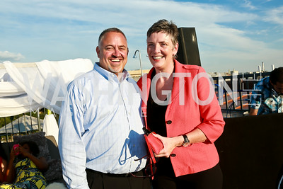 Embassy Hotel GM Shawn Jervis, Lorna Kirwin. Photo by Tony Powell. The Embassy Row Hotel Rooftop Opening. July 16, 2014