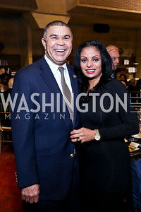 "Rep. Lacy Clay, Pat Beauchemin. Photo by Tony Powell. ""The Tallest Tree in the Forest"" Opening Night Dinner. January 16, 2014"