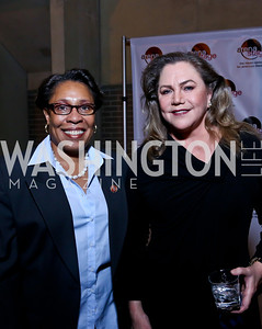 "Rep. Marcia Fudge, Kathleen Turner. Photo by Tony Powell. ""The Tallest Tree in the Forest"" Opening Night Dinner. January 16, 2014"