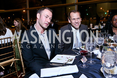 "John Narun, David Park. Photo by Tony Powell. ""The Tallest Tree in the Forest"" Opening Night Dinner. January 16, 2014"