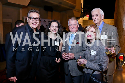 """Tallest Tree"" Director Moises Kaufman, Erika Floreska, Dick Snowdon, Charlotte Schlosberg, Hank Schlosberg. Photo by Tony Powell. ""The Tallest Tree in the Forest"" Opening Night Dinner. January 16, 2014"